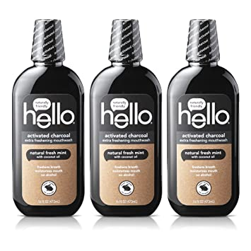 Hello Oral Care Activated Charcoal Extra Freshening Fluoride Free and Alcohol Free Mouthwash with Natural Fresh