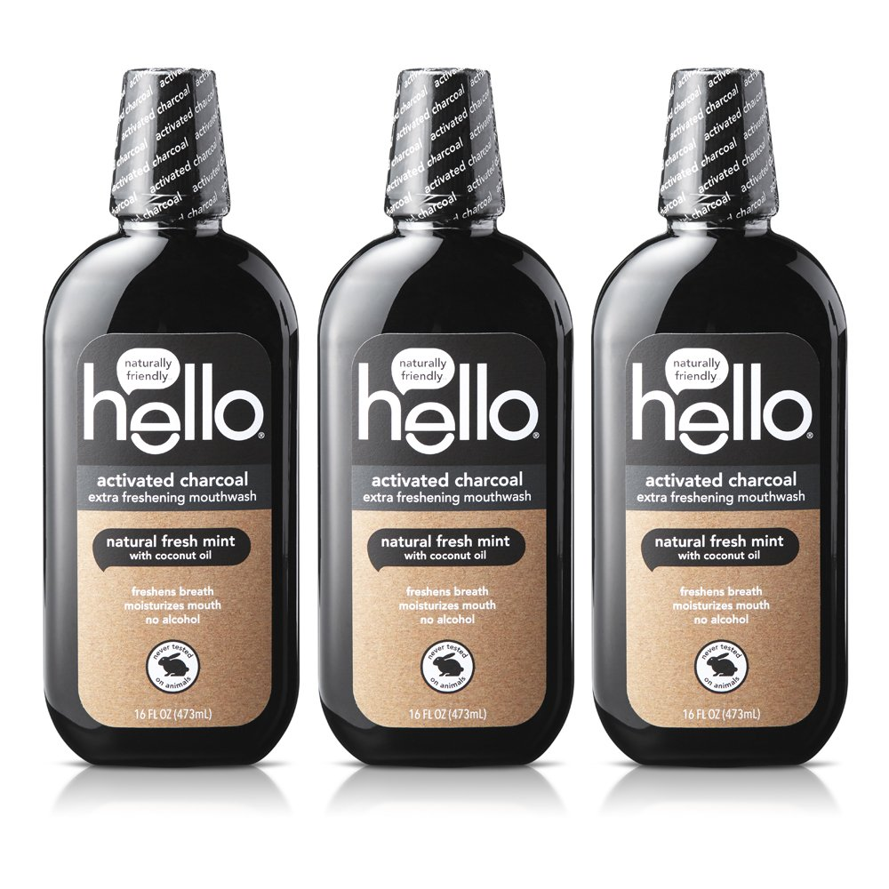 Hello Oral Care Activated Charcoal Extra Freshening Mouthwash, 16 Ounce, 3 Count