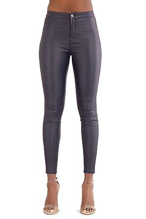 939aa6bd466 Womens Navy Blue Leather Look Leggings Wet Look Skinny Fit Jeans Ladies UK  Sizes 8-14