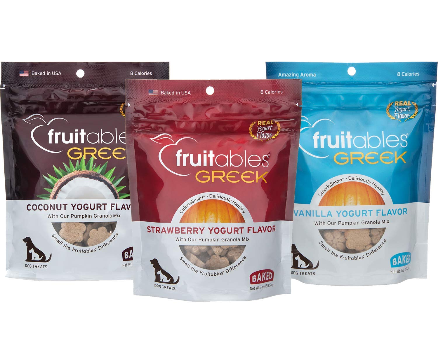 Fruitables Greek Yogurt Dog Treats (Variety Pack of 3, 7-Ounce Pouches)