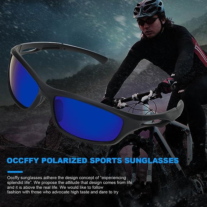 Occffy Hombre Gafas de sol deportivas polarizadas para béisbol, atletismo, ciclismo, pesca, golf Tr90 (Marco mate negro con lente azul)