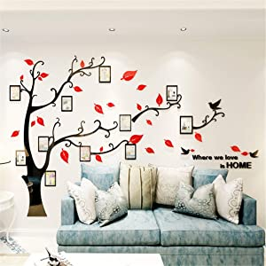 Unitendo 3D Wall Stickers Red leaves Black Branches Wall Sticker Photo Frames FamilyTree Wall Decal Easy to Install &Apply DIY Photo Gallery Frame Decor Sticker Home Art Decor (Red leaves-Left, L)