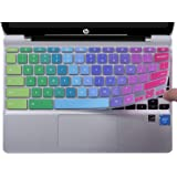 "CaseBuy Ultra Thin Keyboard Cover for HP Chromebook 11 x360 11.6"" & HP Chromebook 11 G2 / G3 / G4 / G5 / G6 EE / G7 EE 11.6 Inch Chromebook Protective Skin, Rainbow"