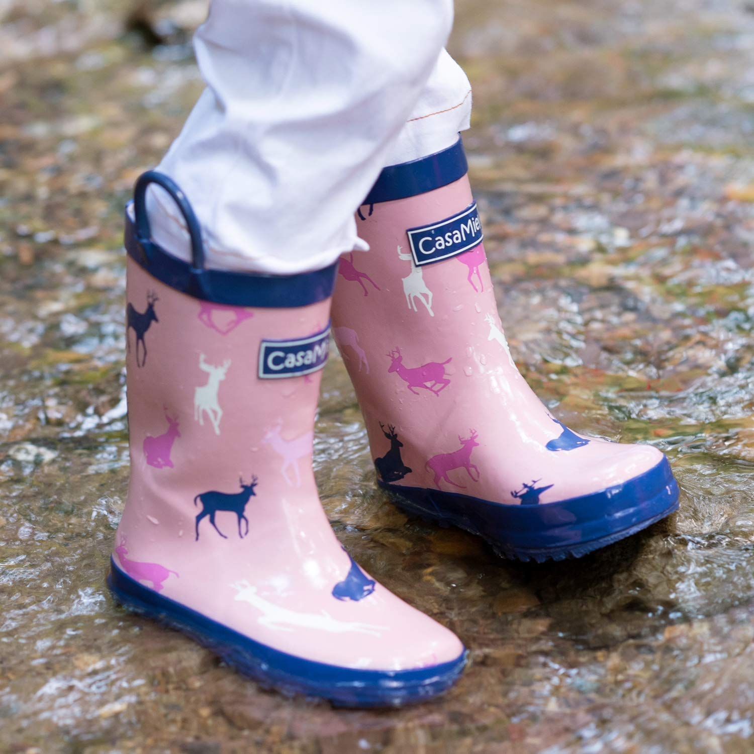 CasaMiel Kid&Toddler Rain Boots for Girls, Children's Handcrafted Rubber Boots, Pink Christmas Deer by CasaMiel (Image #6)