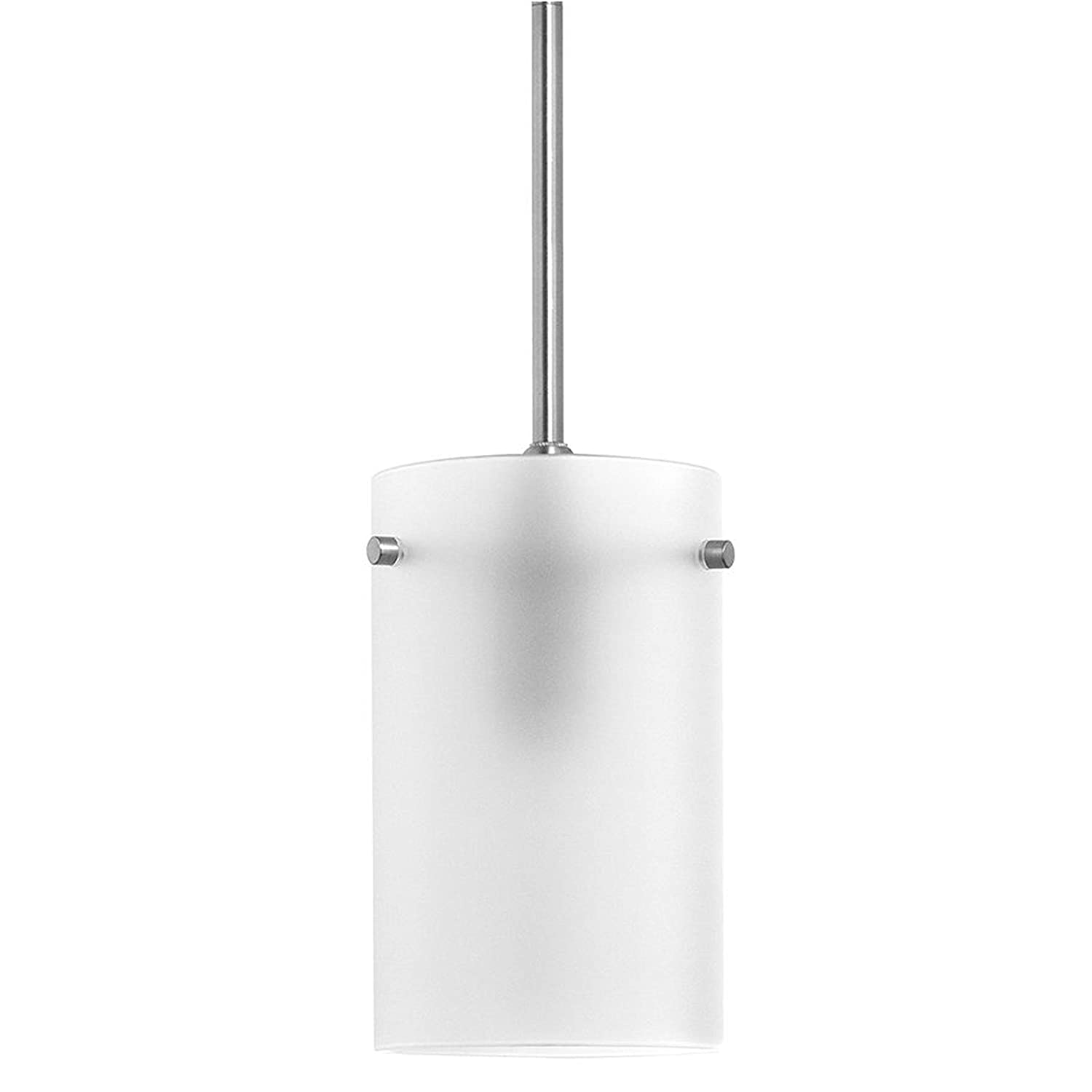 Effimero Medium Hanging Pendant Light | Brushed Nickel Kitchen Island Light, Frosted Glass Shade LL-P314F-BN