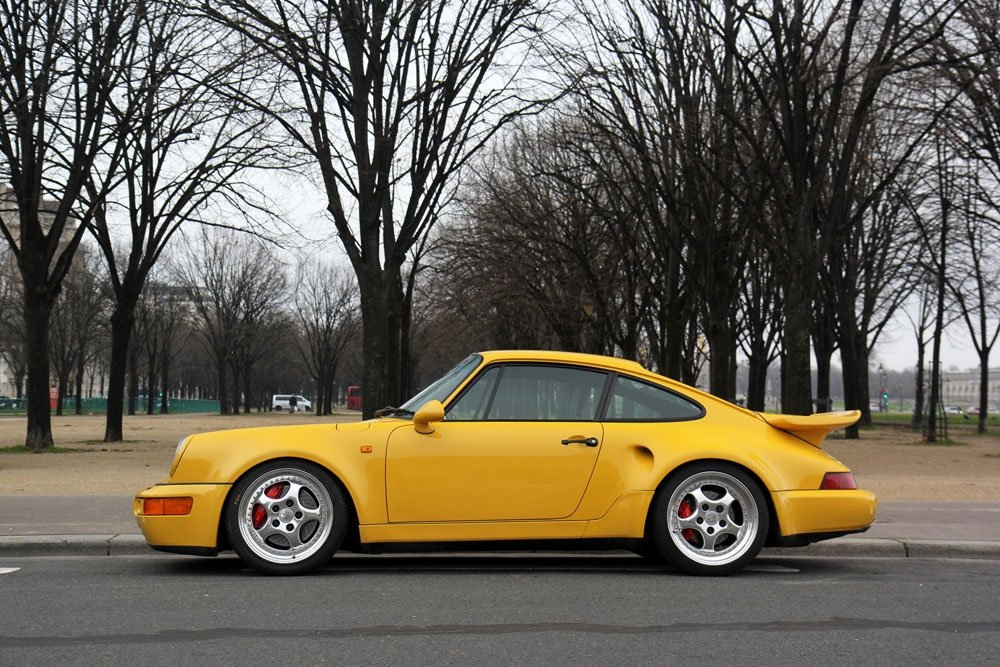 Amazon.com: Porsche 911 964 Turbo S Leichtbau Left Side Yellow HD Poster Super Car 18 X 12 Inch Print: Posters & Prints
