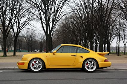Porsche 911 964 Turbo S Leichtbau Left Side Yellow HD Poster Super Car 24 x 16