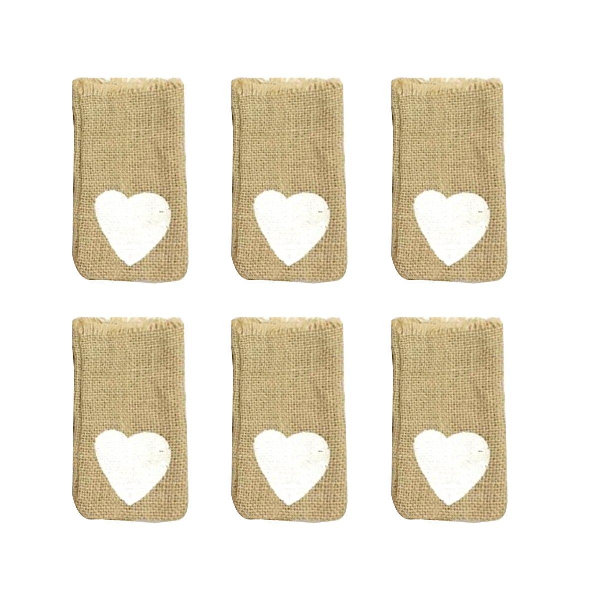 BESTOYARD 6 unids lino con cordón bolsas patrón del corazón del ...