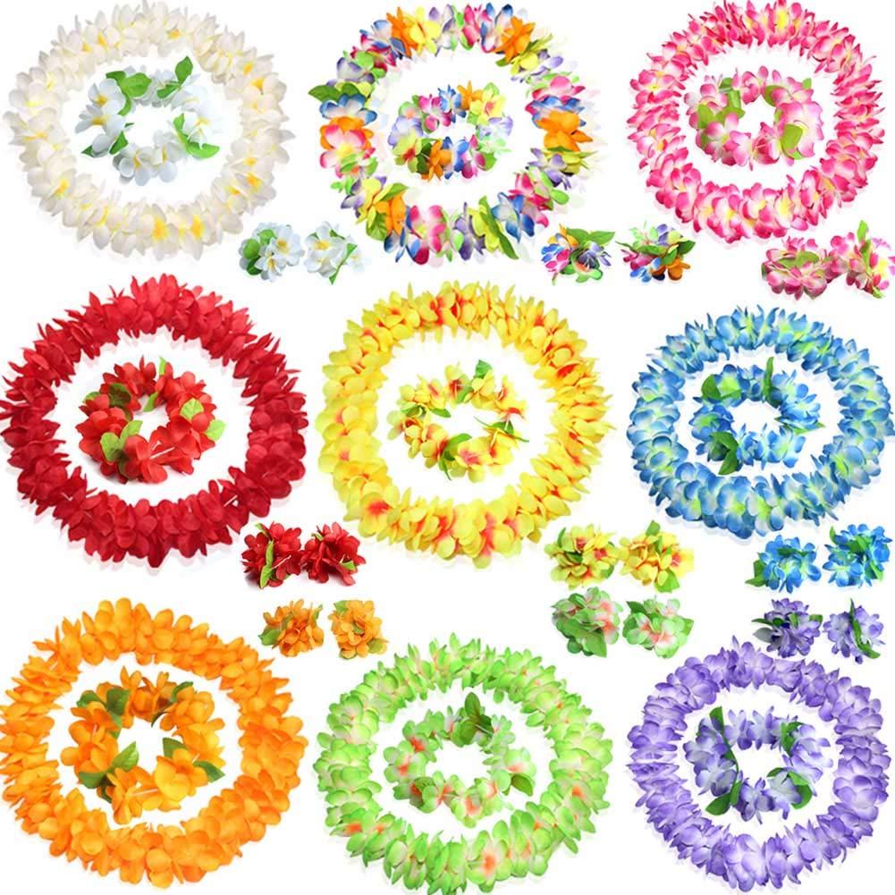 Hawaiian Flowers Leis Necklace Headband Bracelets Set for Tropical Luau Party 9 Set