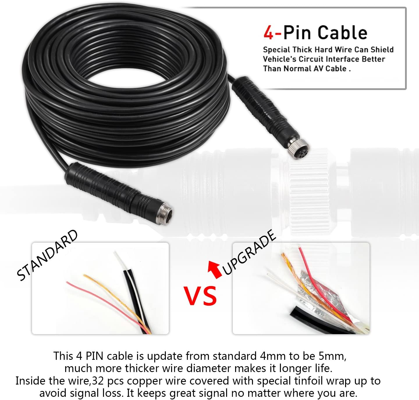 Backup Camera Cable 4PIN Video Power Aviation Extension Wire for Vehicle Car Camper Bus Van Truck Motorhome Trailer RV Reverse Rearview Parking Monitor CCTV System Waterproof Shock Proof 10m 32.8ft