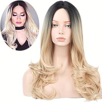 GAIHU Ombre de onda larga peluca rubia raíces oscuras sin pegar 2 tonos de cabello sintético
