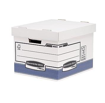 Bankers Box System - Contenedor de archivos automático, A4, azul: Amazon.es: Oficina y papelería