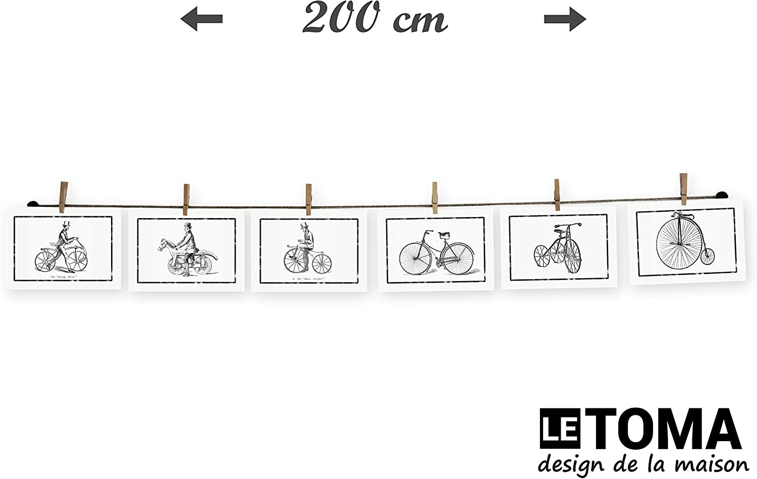 80 cm LeTOMA 30 natural hemp rope with 7 clips High-grade twine with wooden craft pegs for simple and fast fixation Photo string and pegs for a charming wall decoration