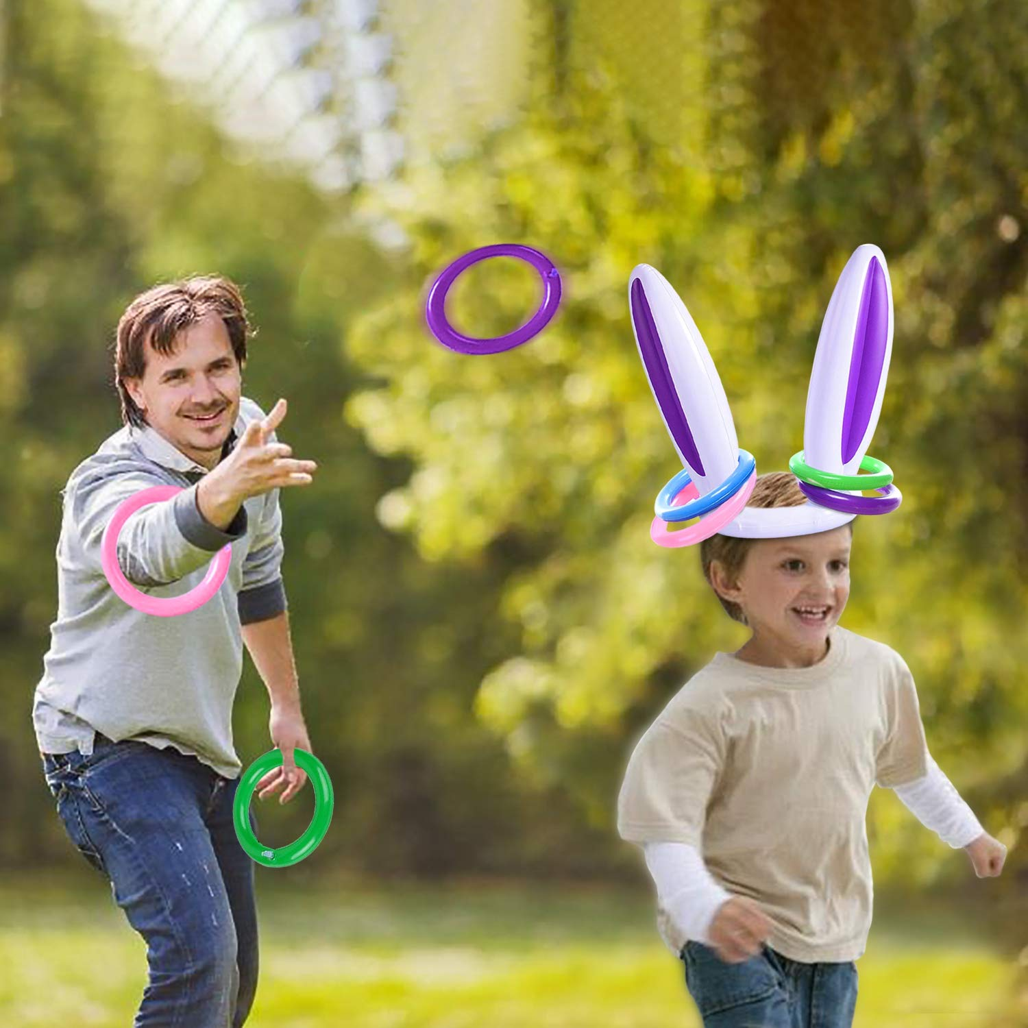 2 Pack Easter Inflatable Bunny Rabbit Ears Ring Toss Party Games Indoor Outdoor Rabbit Ears Ring Toss Toys Gift Party Favors for Kids Family Easter Party Supplies Carnival Game 2 Set /& 8 Rings