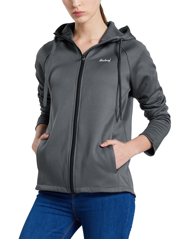 Baleaf Women's Fleece Jacket Thermal Running Hoodie Sweatshirt Gray Size XL
