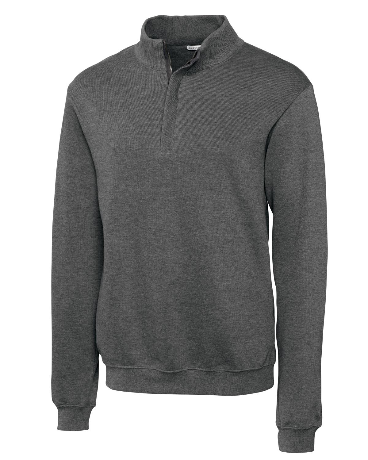 Cutter & Buck Men's Big-Tall Journey Supima Flatback Half Zip, Charcoal Heather, 1X/Big
