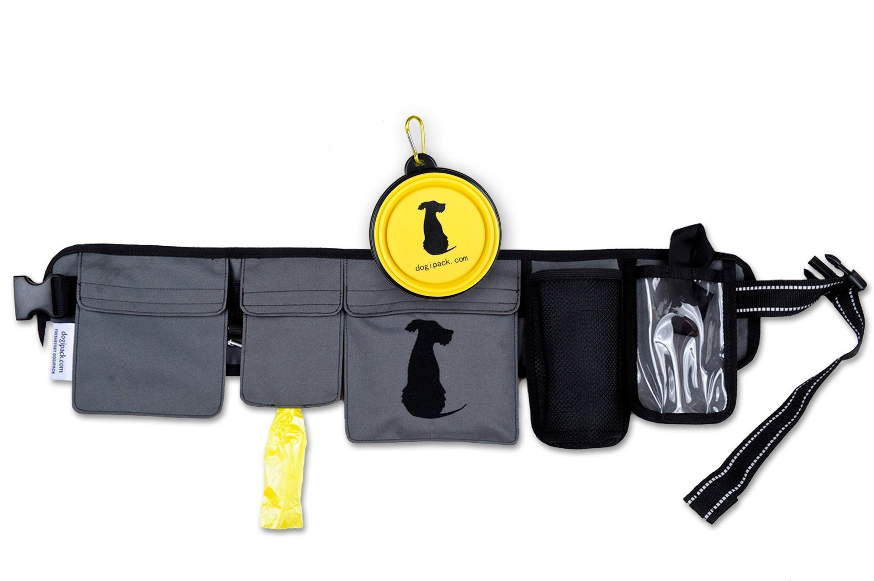 FreshStart DogiPack Hands Free and Organizational Dog Walking Belt (Grey)