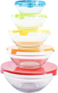 Home Basics Glass Food Storage Containers with Multi Color Plastic Lids