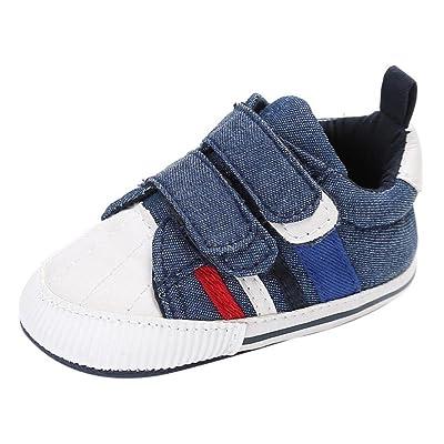 Auxma Chaussures de bébé, Nouveau-né Infantile Bébé Filles Garçons Crib Doux Semelle Anti-slip Sneakers Toile Chaussures Chaussures premiers pas pour 0-18 mois