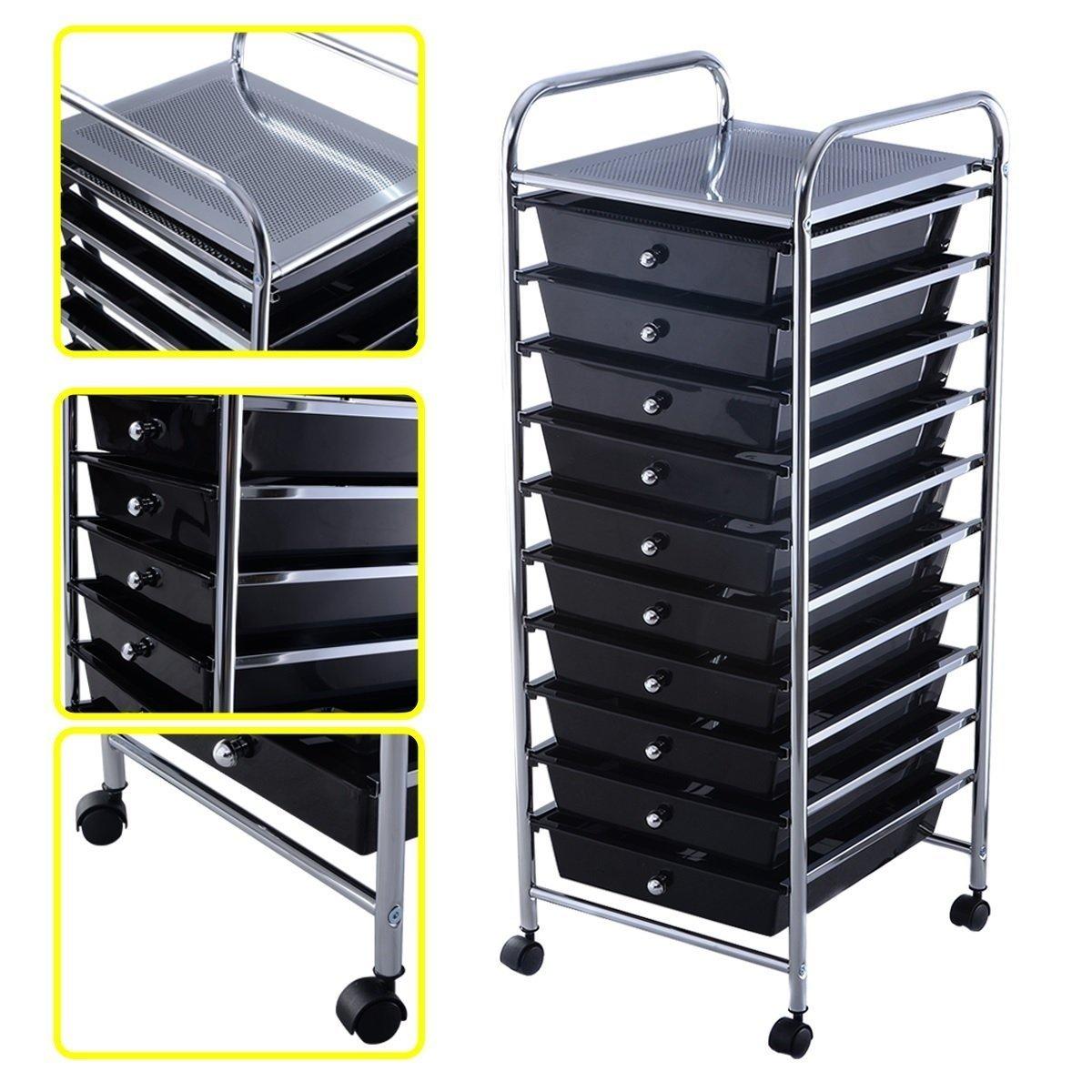 Black 10 Drawer Rolling Storage Cart Scrapbook Paper Office School Organizer US Ship