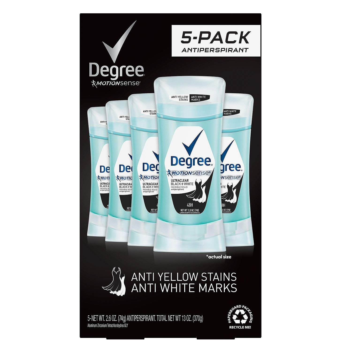 Degree Women's Antiperspirant Ultraclear Black + White 5Pk