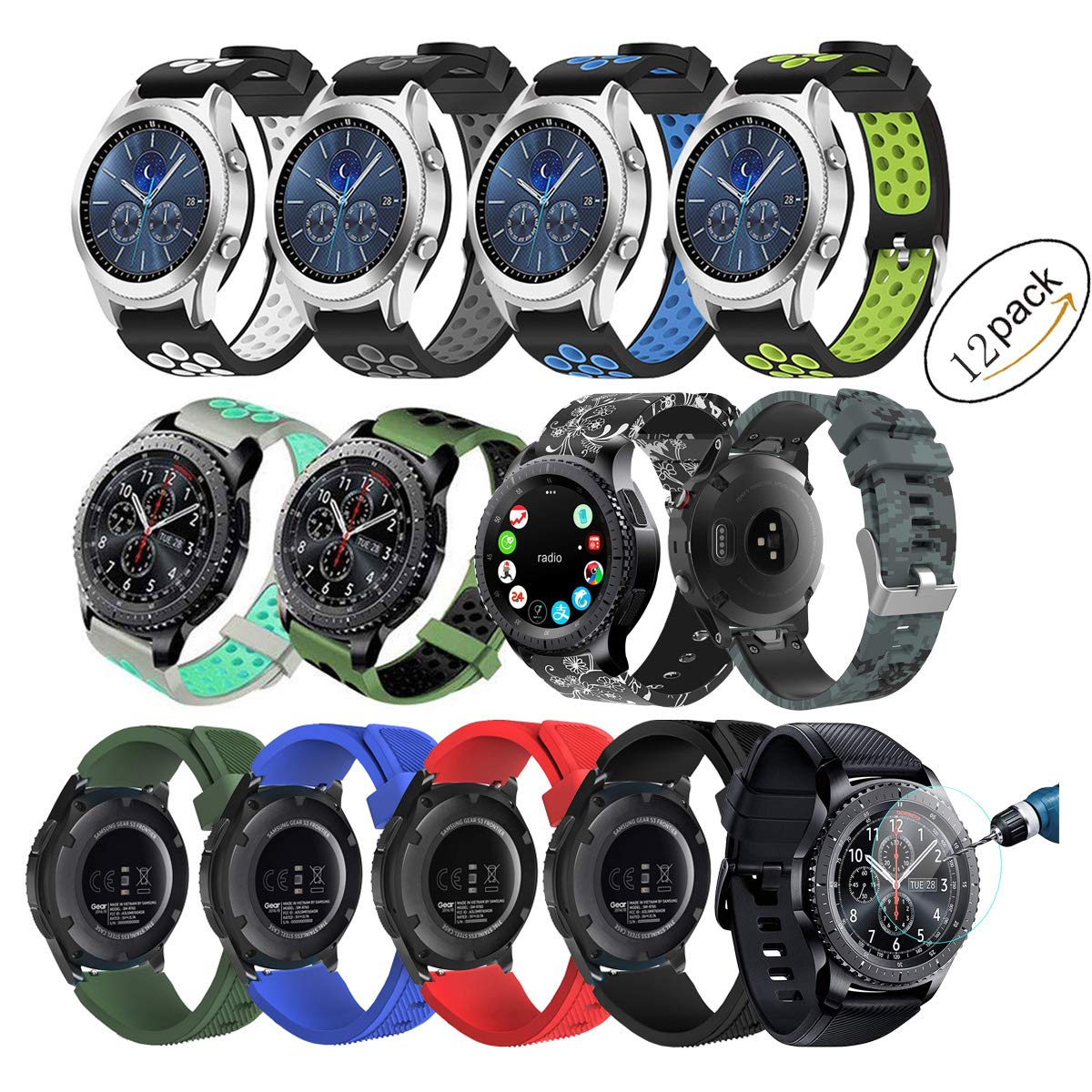 Compatible for Samsung Gear S3 Frontier/Classic Watch Bands 22mm Solid Stainless Steel Metal Business Replacement Silicon Bands Samsung Gear S3 ...