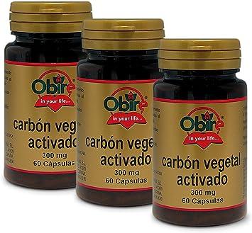 Carbón vegetal activado 300 mg. 60 capsulas (Pack 3 unid ...