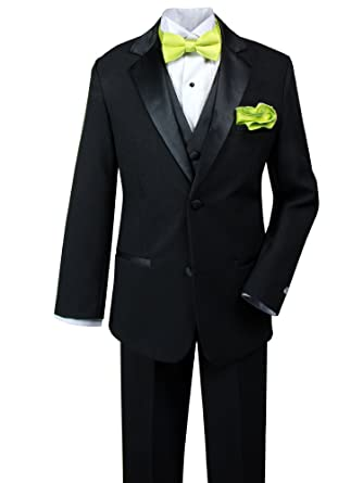 0ed4f10b0a12 Spring Notion Little Boys' Tuxedo Set with Bow Tie and Handkerchief 2T Black -Lime