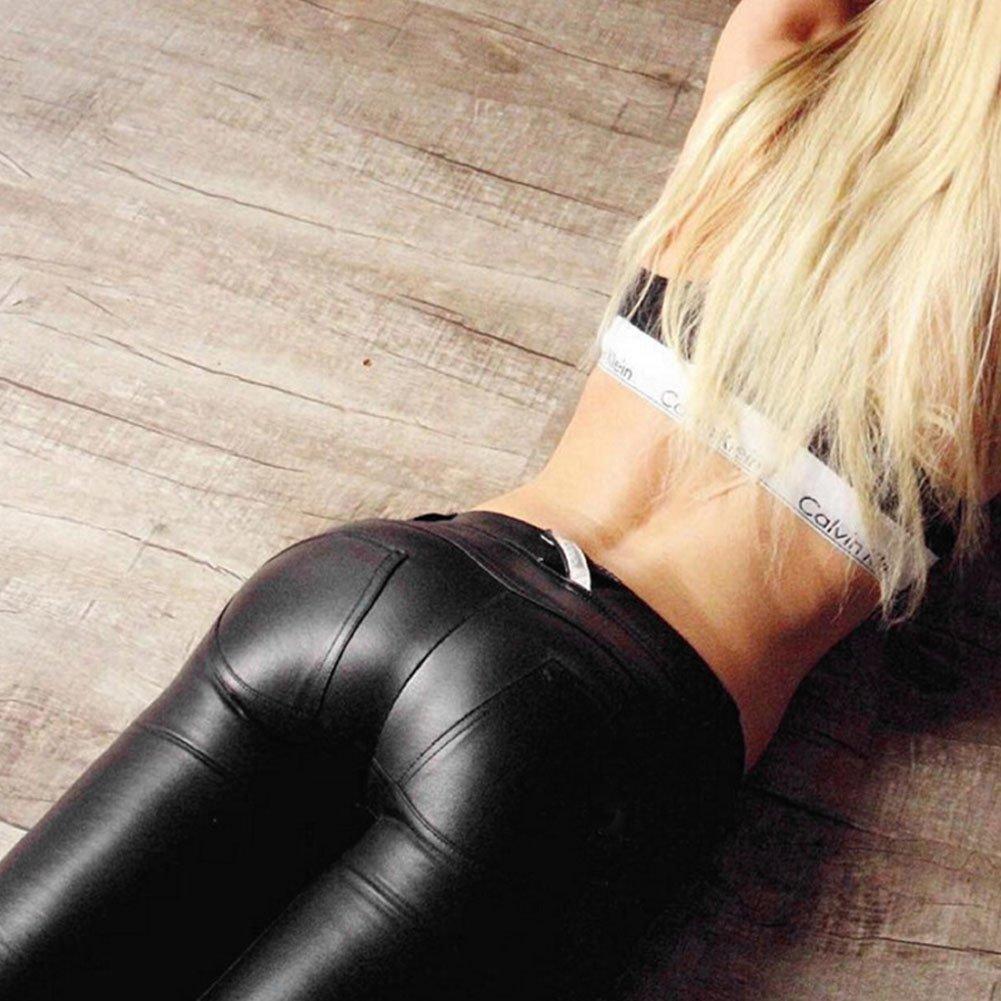 1530b54381 Damen Petalum Damen Leggings Wetlook Leggings Stretch PU Lederhose Skinny  Schlank Hose Kunstleder Treggins Slim Smooth Hüfthoch Hose Schwarz