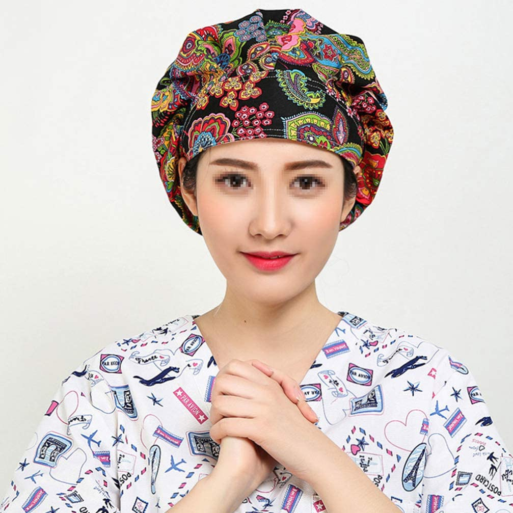 PRETYZOOM Bouffant Scrub Cap Doctor Hat Nurse Cap Adjustable Surgical Cap Hospital Medical Surgery Hat Butterfly Printed