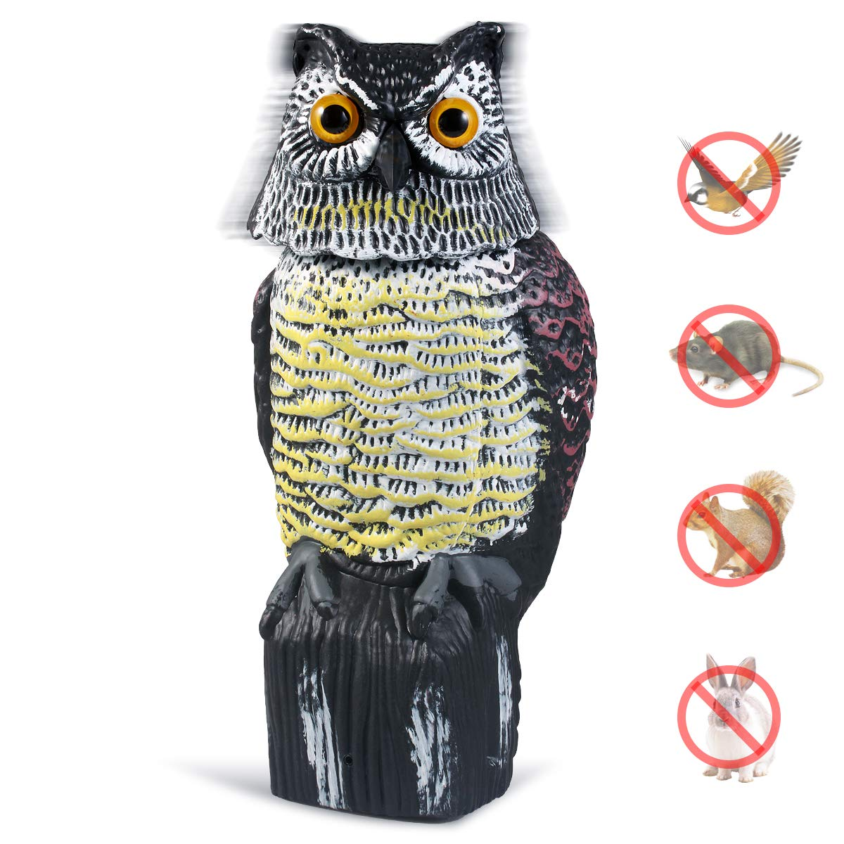 CampFENSE Owl Decoy with Rotating Head, Garden Protector Sculpture for Birds, Mice, Squirrels, Rabbits (Black-New)