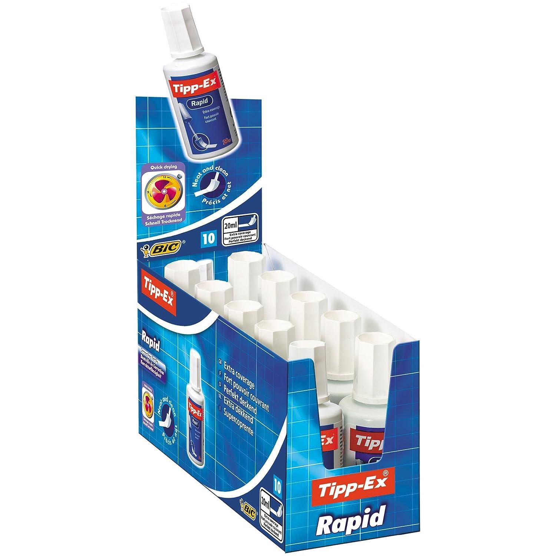 Bic Tipp-Ex Rapid Correttore Liquido con Applicatore in Schiuma di Lattice Confezione 10 Correttori 8119143