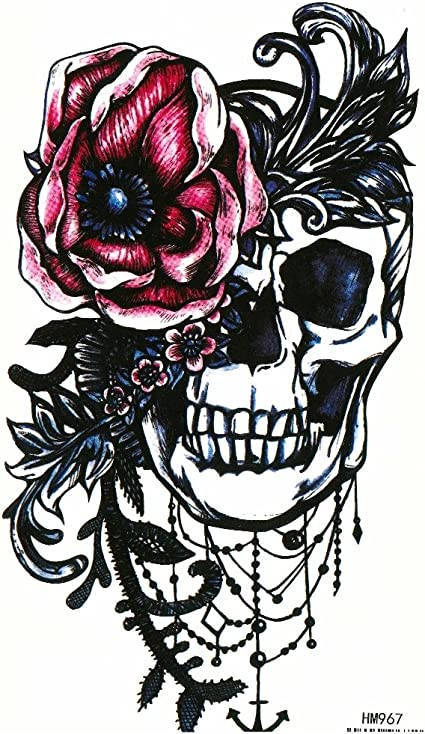 Just Fox – temporäres Tattoo Calavera Rosas Diseño con pegamento ...