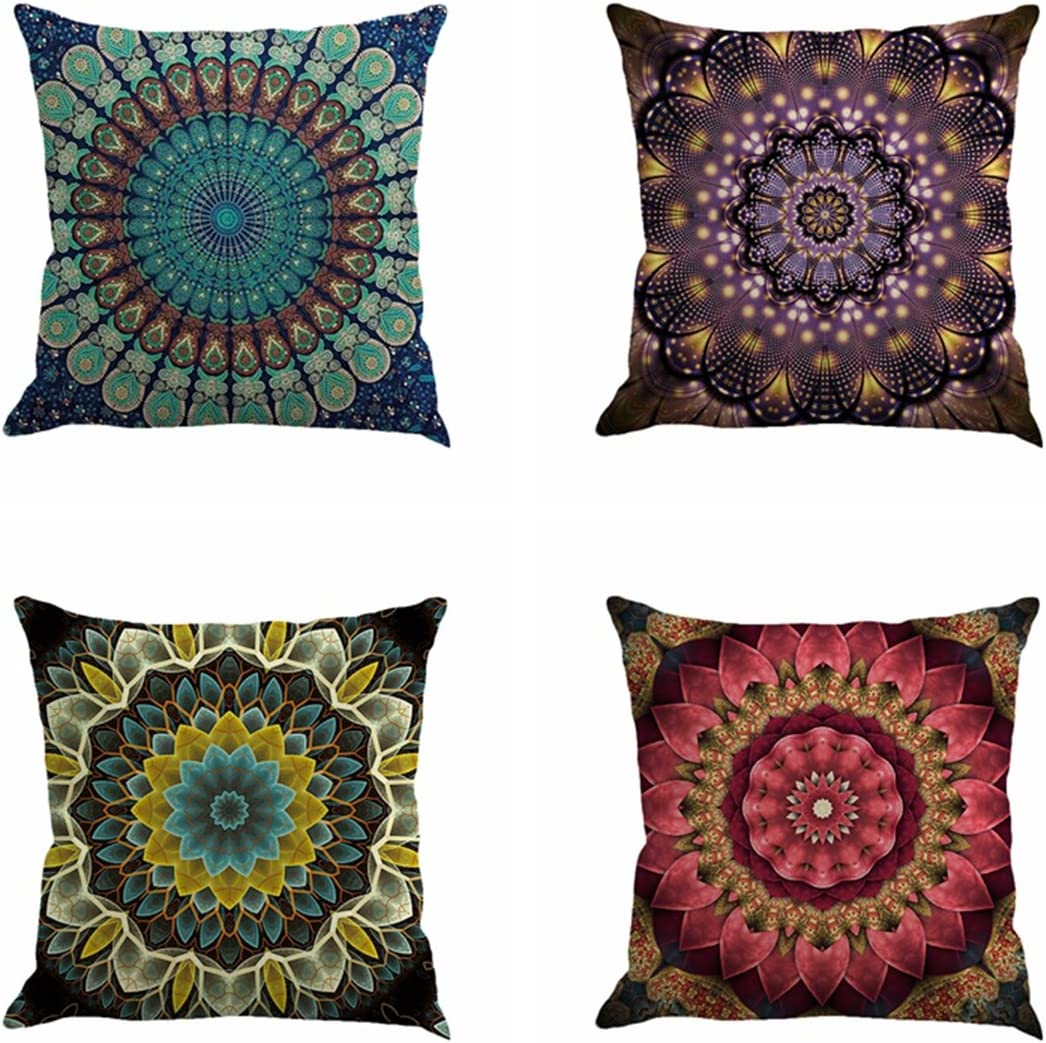 "Jartinle Set of 4 Retro Floral Mandala Compass Medallion Bohemian Boho Style Summer Decor Cushion Case Decorative for Sofa Couch 18"" x 18"" Inch Cotton Line (Mandala Pattern)"