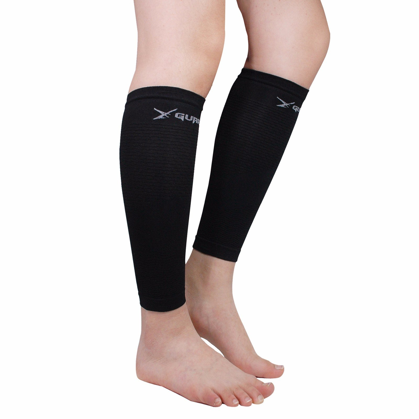 Leg Compression Sleeve Pair Tattoo Cover up for Women Men - Calf Shin Support for Shin Splints and Calf Pain Relief Basketball Running Enhance Blood Circulation Two Pieces (Black)