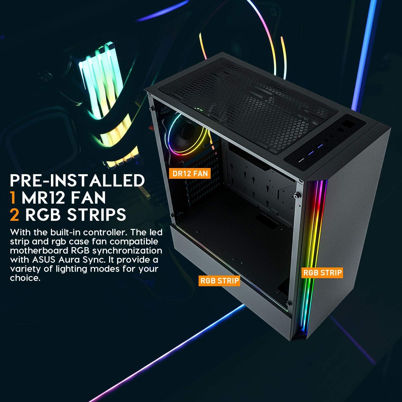 darkFlash J11 ATX Mid-Tower Computer Case Tempered Glass W//1pcs LED MR12 RGB Fan