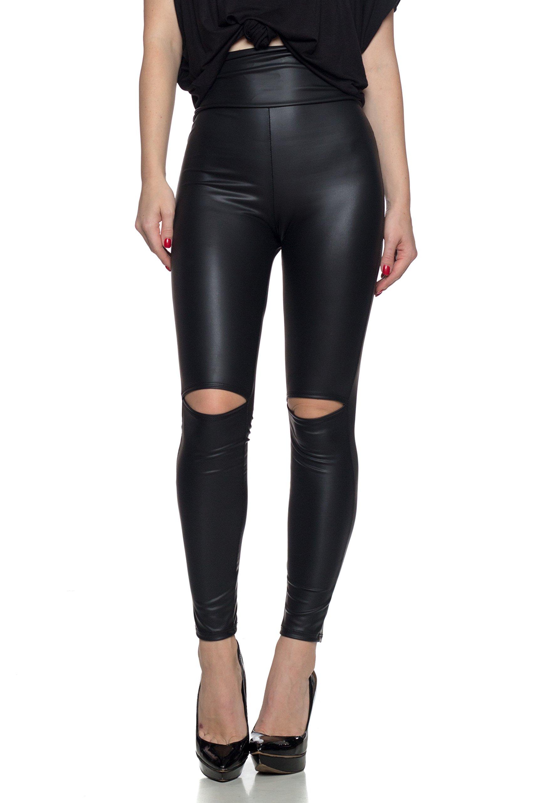 Cemi Ceri J2 Love Women's Knee Slit Faux Leather Legging, Medium, Black