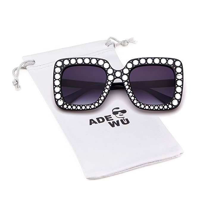 7ee33e7c5fd7 Image Unavailable. Image not available for. Color: Square Oversize Women  Sunglasses UV Mirror Retro Crystal Rim Brand Desginer Glasses