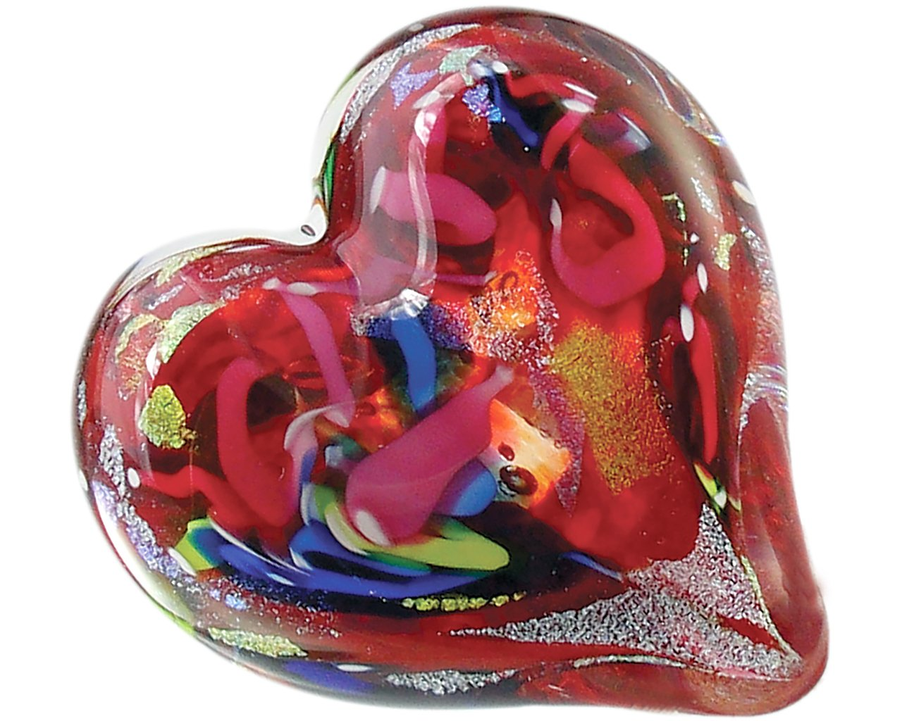 Glass Eye Studio Hand Blown Paperweight Hearts of Fire Red by Glass Eye Studio