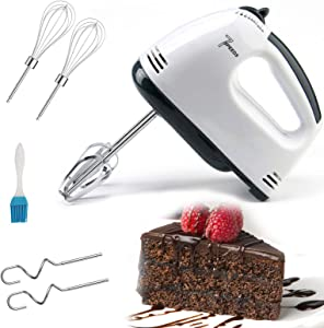 Hand Mixer Electric Egg Cream Food Beater Whisk 7-speed Electric Hand Mixer Lightweight Handheld Mixer with 2Beaters,2DoughHooks White for Food Whipping,Egg Whisk,Cake Mixer (White A)