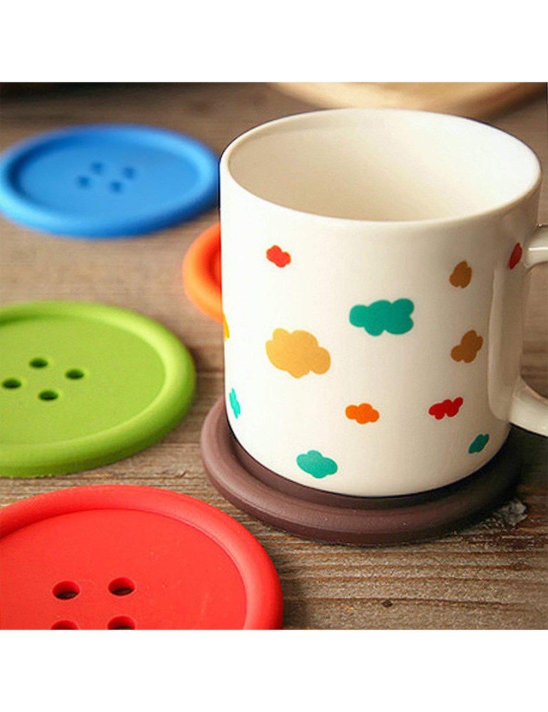 DomeStar Button Coaster, 12PCS Non Slip Drink Coaster Colorful Unique Slice Silicone Cup Mat for Drinks Prevent Furniture and Tabletop