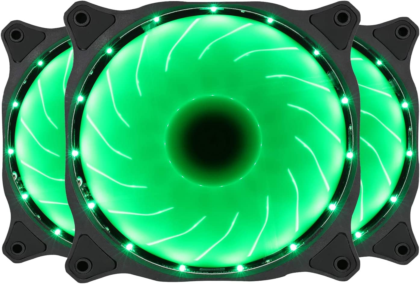 120mm Computer PC Green LED Case Fan Quiet 12V 3pin Gaming PC Computer Cooler Fan 3-Pack