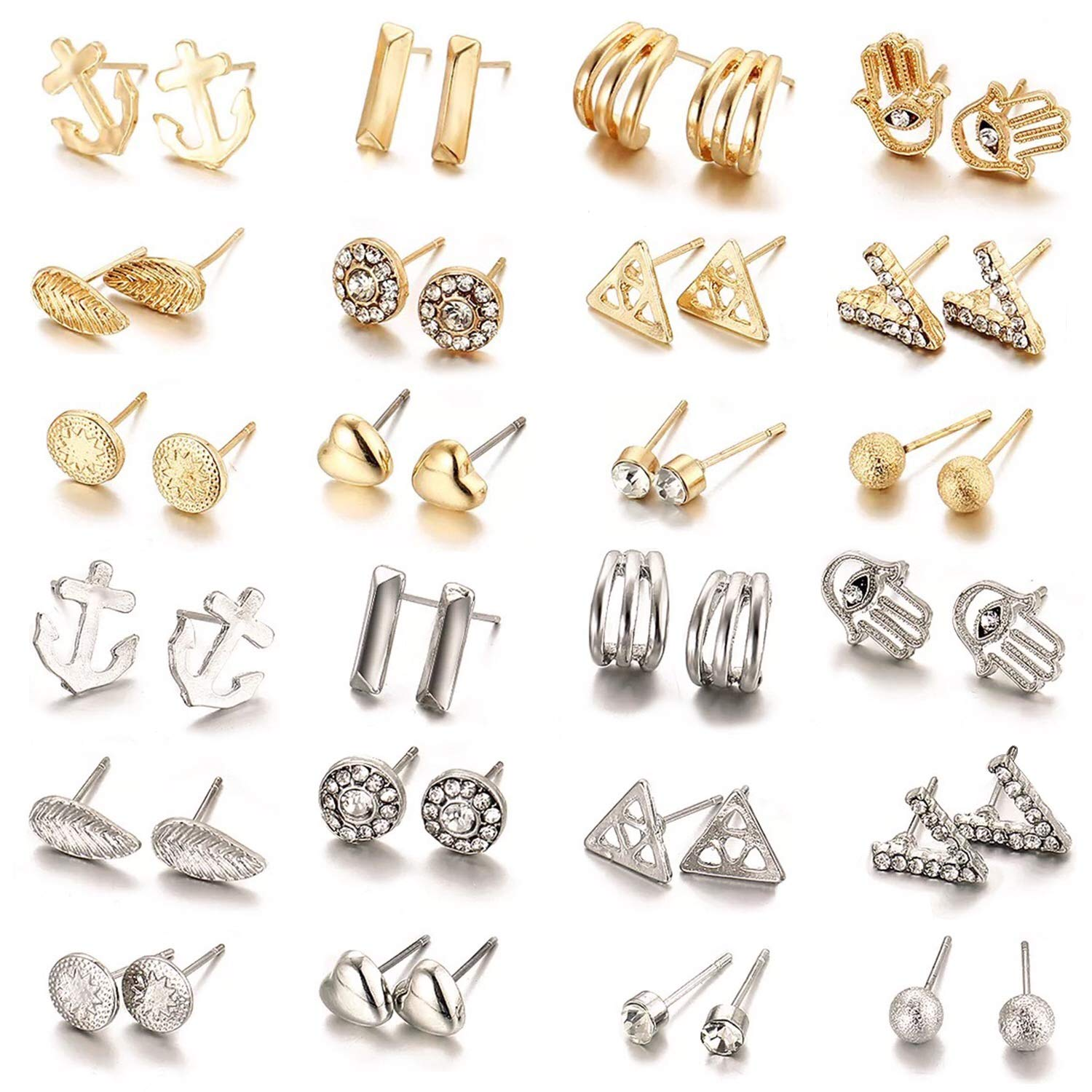 24 Pair/Set Hypoallergenic nickel-free Geometric Crystal Earrings Piercing Assorted Bead Charms Multiple Stud Earring Set (Style 3)