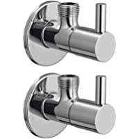Drizzle Angle Valve Flora Brass Chrome Plated/Angle Cock For Bathroom/Bathroom Taps/Angle Valve Stop Cock - Set of 2