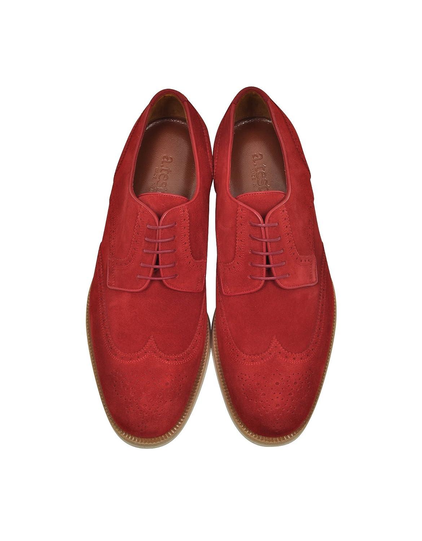 A.Testoni Hombre M45702beh98168ge3 Rojo Gamuza Zapatos De Cordones yjvtbm2