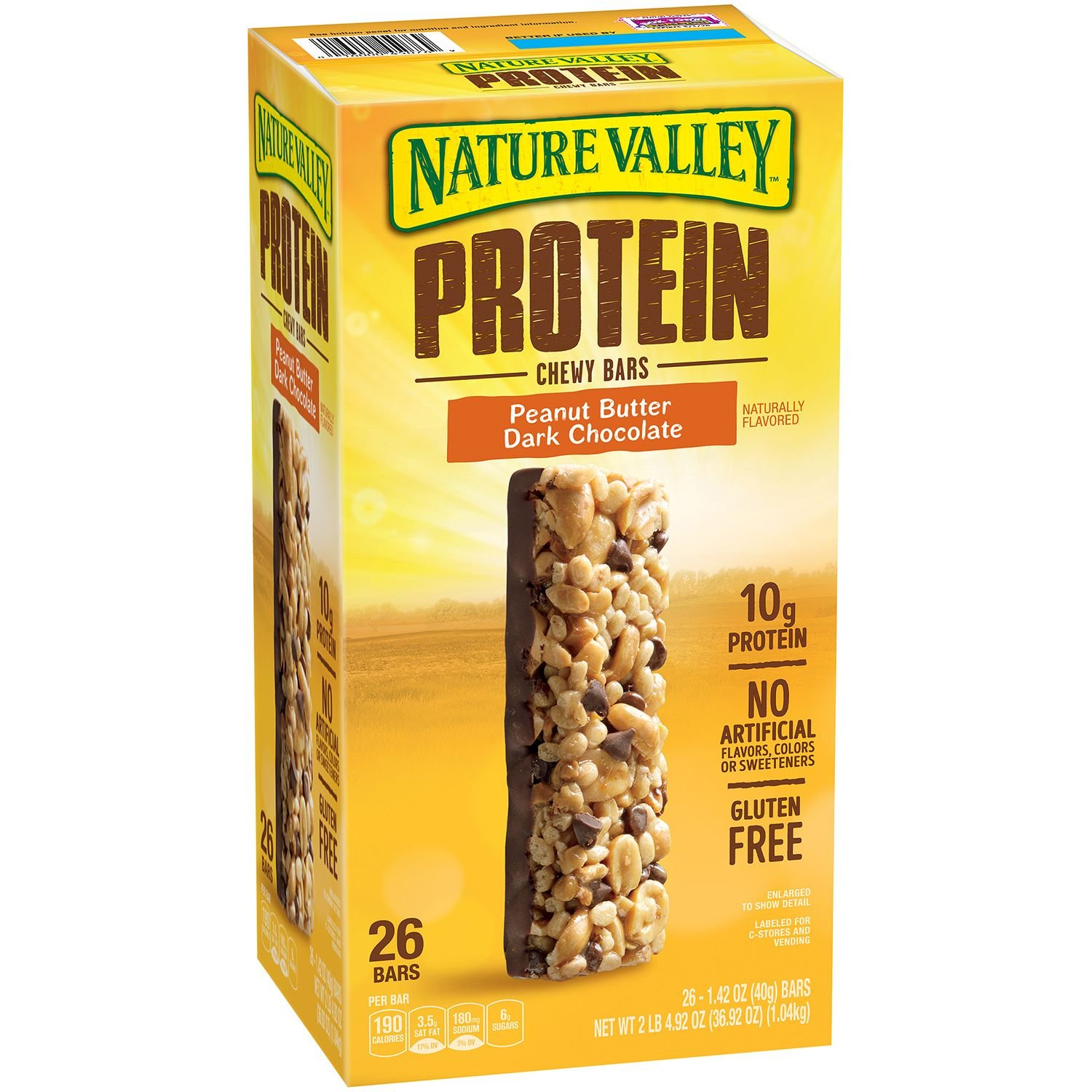 Nature Valley Protein Chewy Bar, Peanut Butter Dark Chocolate (Two 26 Ct Boxes, 1.42 Oz. Bars) Total 52 Bars