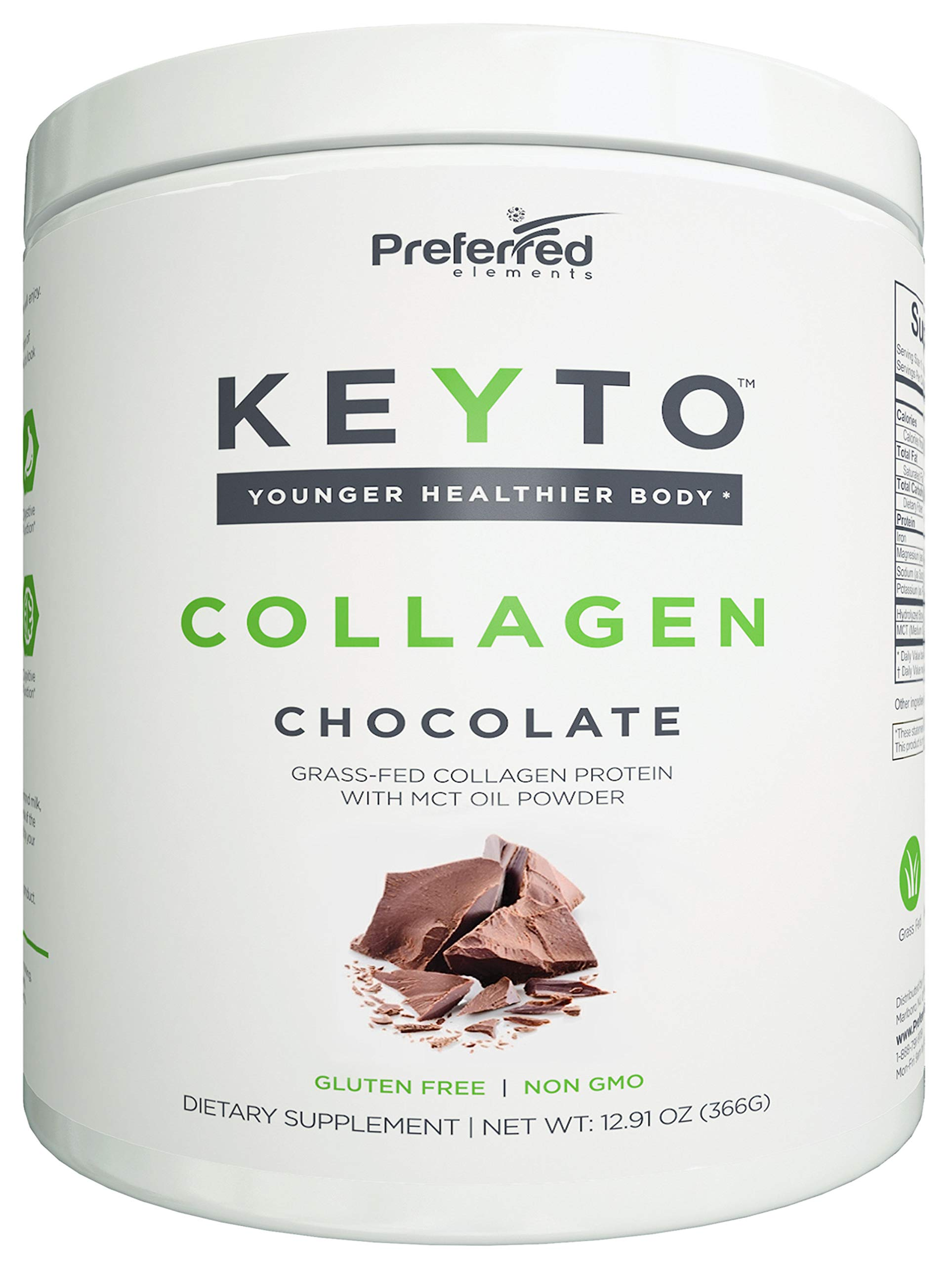 Keto Collagen Protein Powder with MCT Oil - Keto and Paleo Friendly Pure Grass Fed Pasture Raised Hydrolyzed Collagen Peptides - Fits Low Carb Diet and Keto Snacks - KEYTO Chocolate Flavor by Preferred Elements