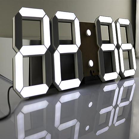 Reloj de pared digital LED grande de Pinty - Hora, fecha, temperatura, alarma