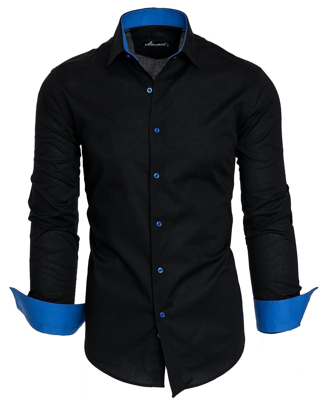 Amaci& Sons Herren Slim Fit Hemd Bügelleicht Business Freizeit Shirt 50002