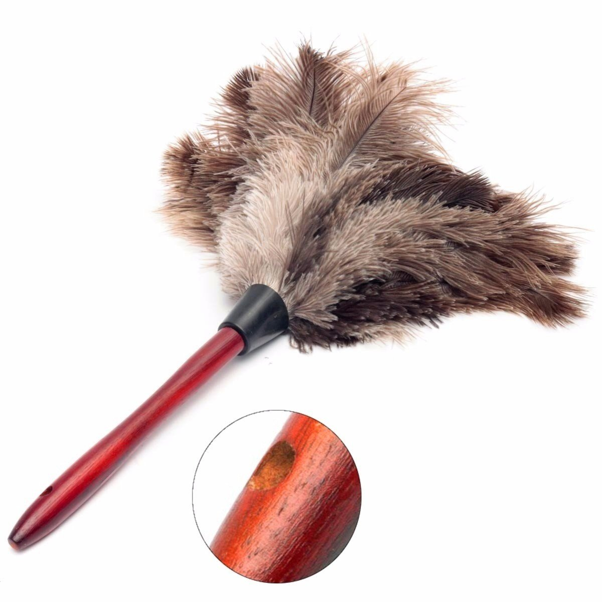 ZHCHL 44cm Ostrich Bird Feather Cleaning Brh Wood Handle Anti-static Grey Fur Dter
